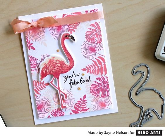 Color Layering Flamingo by Jayne Nelson for Hero Arts