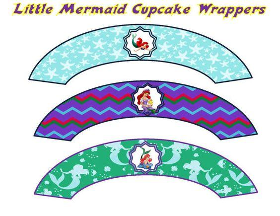 Little Mermaid Cupcake Wrappers INSTANT by ATimeToRememberDPK