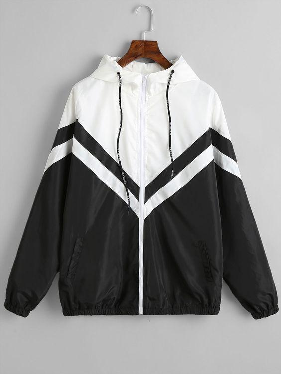 Color Block Zig Zag Windbreaker Jacket BLACK , #AD, #Zig, #Block, #Color, #Zag, #BLACK #Ad