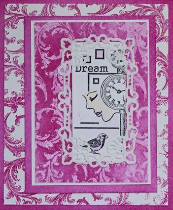 Resist-Technik mit 3D-Stempel-Farbe in Transoarent, Paper-Soft-Color und Cardstock in den Trendfarben, Rahmen (docrafts), Motivstempel (Just Stamps Design, Viva Decor) - Daniela Rogall