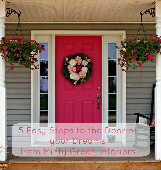 Pink Front Door Makeover Peony Front Porch Benjamin