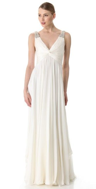 Reem Acra V Neck Gown with Jeweled Straps | SHOPBOP