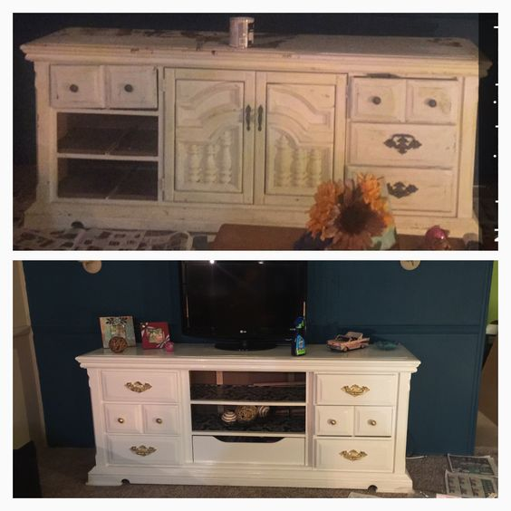 vintage old dresser into tv stand