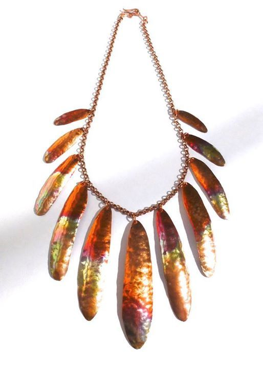 Copper feather design necklace by Linton Designs, Warwick NY