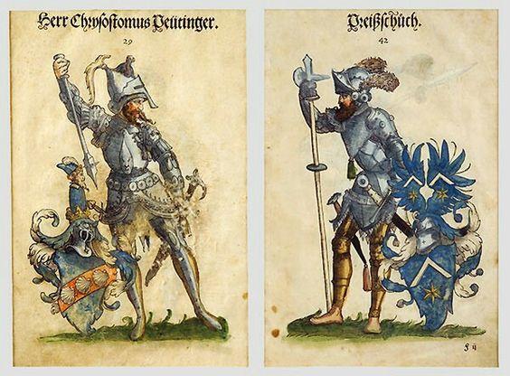 Familienwappen mit begleitenden Kriegerfiguren : Peutinger und Preißschuch…