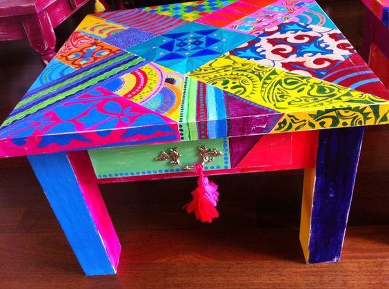 Mesas pintadas estilo mexicano buscar con google - Pintar una mesa de madera ...