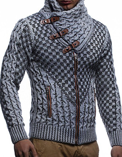 Leif Nelson Mens Zip Up Knitted Cardigan LN5175