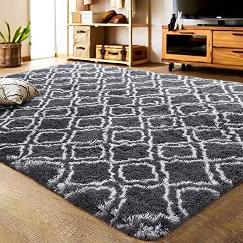 Lochas Luxury Velvet Shag Area Rug Modern Indoor Plush Fluffy Rugs Extra Soft And Comfy Carpet Geometric Moroc In 2020 Shag Area Rug Fluffy Rug Moroccan Rugs Bedroom