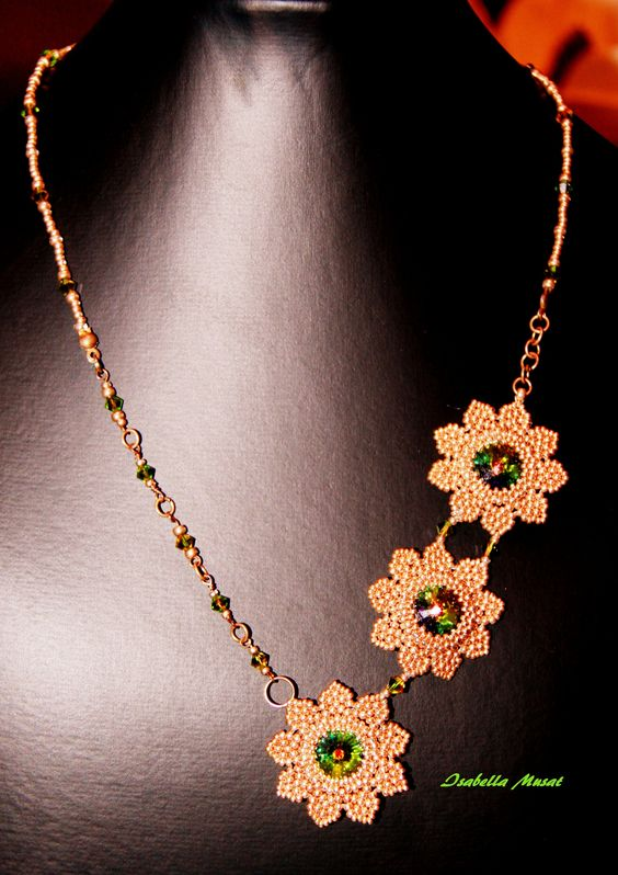 collana cabochon swarovski e miyuki beads