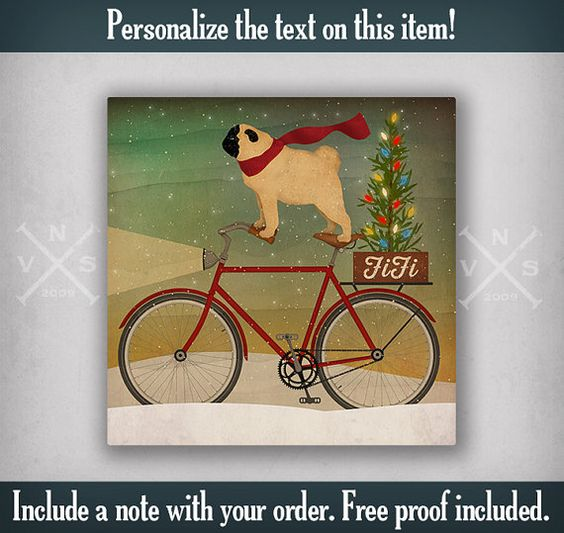 PERSONALIZED Pug Bicycle Christmas Tree. Free Customization Graphic Art Stretched Canvas Ready-To-Hang