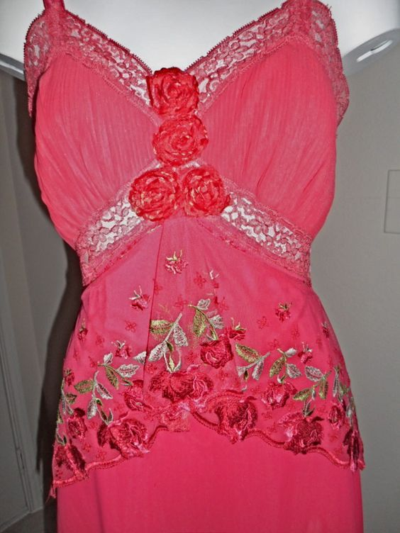 Upcycled red slip dress vintage net lace
