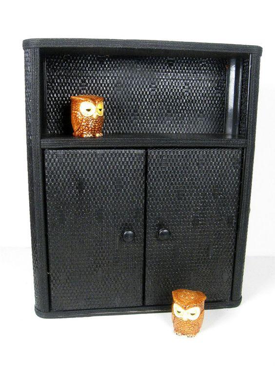 vintage wall cabinet - painted wicker wood - black shelf - cottage style cupboard - 35.00