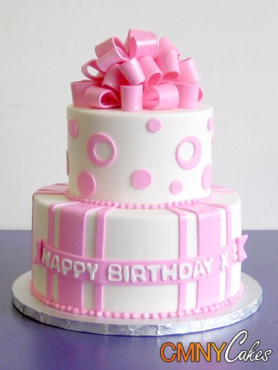 Fondant Cake Design For Birthday : Pink and White Fondant Birthday Cake - CMNY Cakes ...