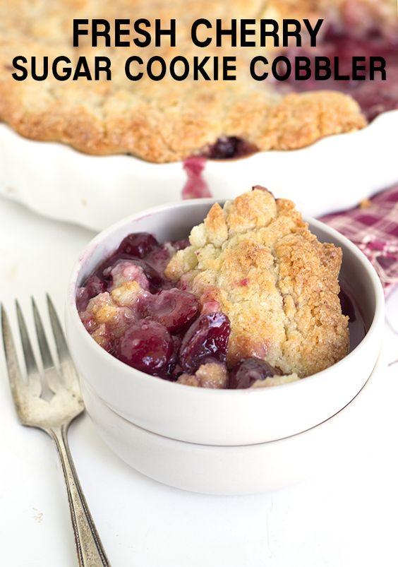 Fresh Cherry Sugar Cookie Cobbler - Fresh cherry filled cobbler with a ...