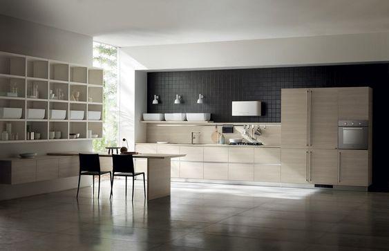 Scavolini Italienische Küche Helles Holz Weiße Behälter #kitchen   Moderne  Design Kuechen Scavolini