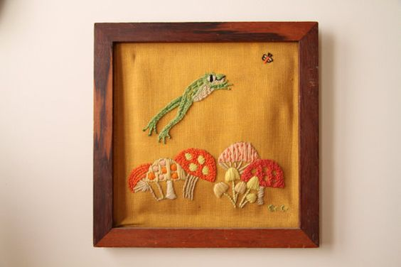 Mushrooms & Frogs  Framed Vintage Artwork  Crewel by illkniterate