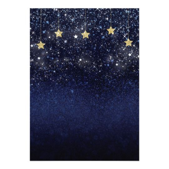 Under The Stars Starry Night Gold Blue Prom Party Invitation