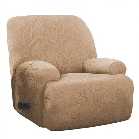 Stretch Sensations Stretch Floral Jumbo Recliner Slipcover Beige