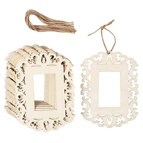 Genie Crafts 12 Pack Unfinished Wood Frame Cutout 4 3 X 5 8 Inch Mini Wood Photo Frame With Jute R Wood Photo Frame Photo On Wood Natural Wood Frames