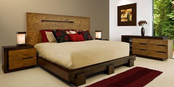 Recamara elaborada en madera de encino cabecera buro y for Cabeceras de recamaras