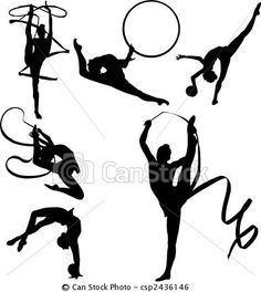 Vector - Rhythmic Gymnasts Silhouettes - stock illustration, royalty free illustrations, stock clip art icon, stock clipart icons, logo, line art, EPS picture, pictures, graphic, graphics, drawing, drawings, vector image, artwork, EPS vector art
