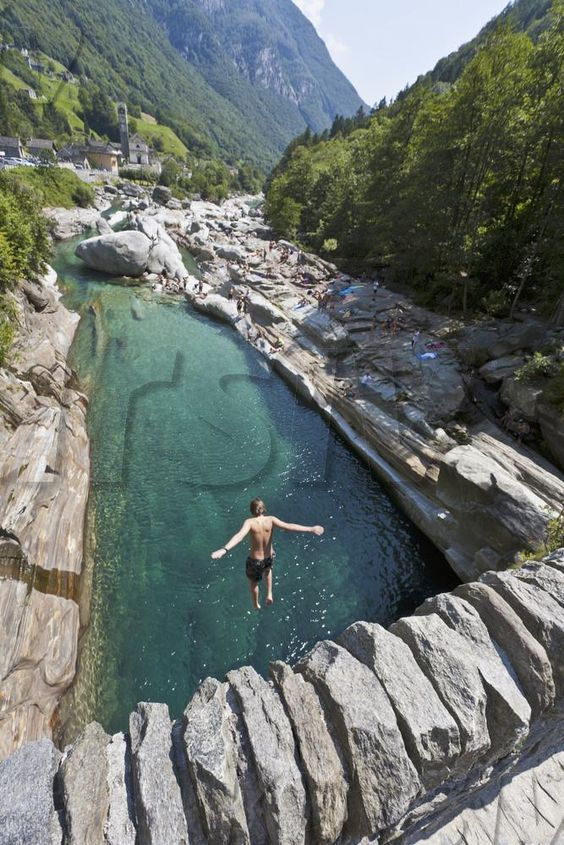 Valle Verzasca, in the south of Switzerland, has these crystal clear streams.