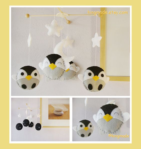 Baby Mobile - Penguin Mobile - Antarctic World Penguins in a White starry night (Custom colors available)