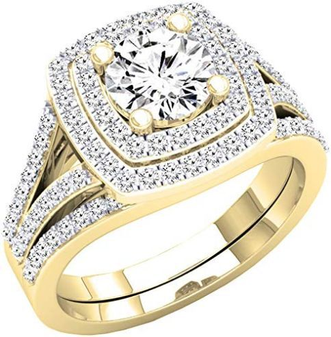 10k Yellow Gold Wedding Ring With Round Cubic Zirconia Yellow Gold Wedding Ring Gold Wedding Rings Wedding Rings