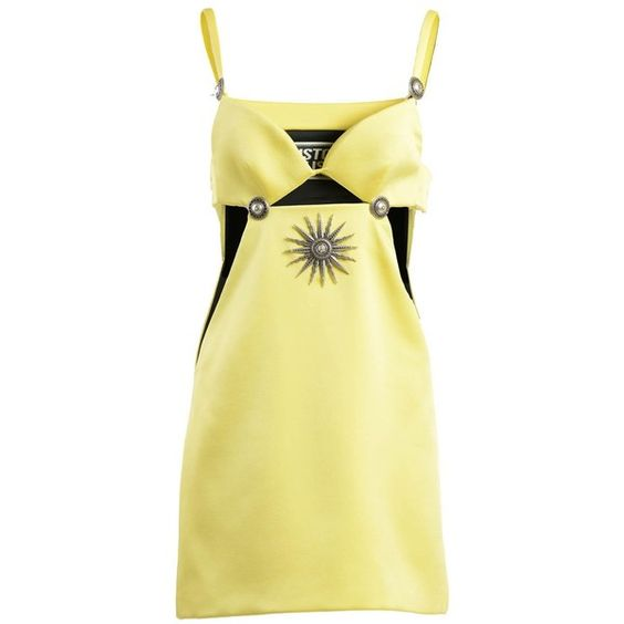 Fausto Puglisi Short Dresses (€794) ❤ liked on Polyvore featuring dresses, yellow, fausto puglisi dress, short yellow dress, beige cocktail dress, beige dress and short mini dresses