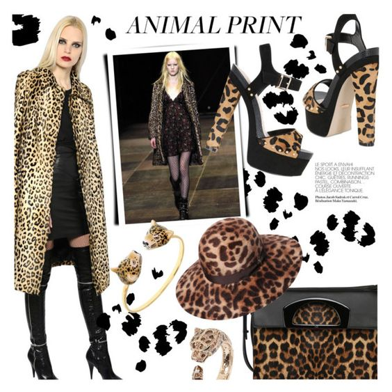 """Fall Trend Report: Animal Prints"" by luisaviaroma ❤ liked on Polyvore featuring Carvela Kurt Geiger, Yves Saint Laurent, Christian Louboutin, Borsalino, Nach and Roberto Cavalli"