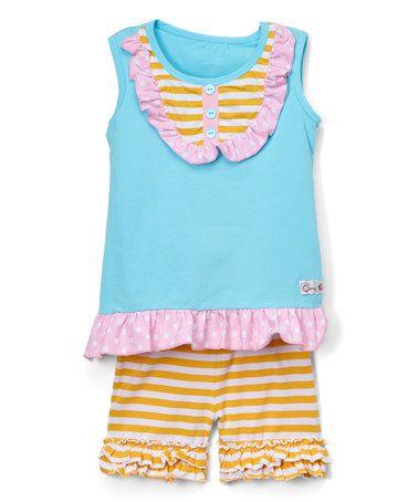 Look at this #zulilyfind! Aqua & Pink Ruffle Top & Shorts - Infant, Toddler & Girls #zulilyfinds