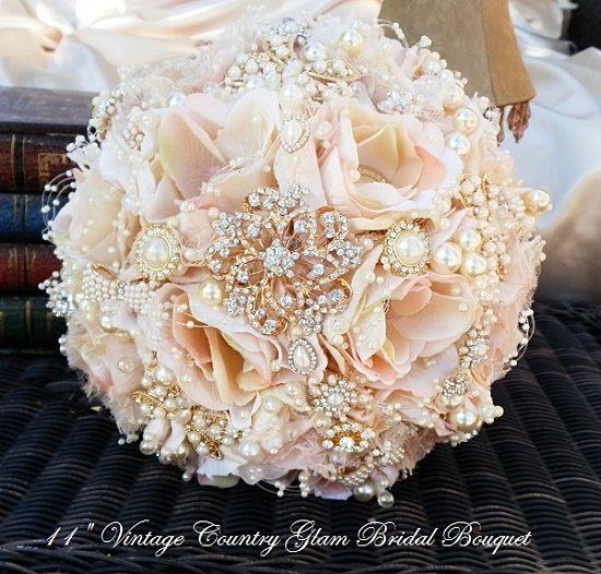 Golden Bridal Bouquet : Rose gold brooch bouquet custom pink and