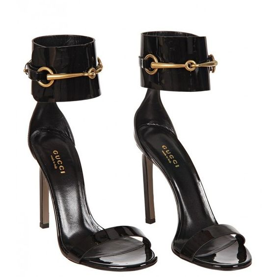 Gucci Black Patent Leather Ankle-Strap Sandals ($490) ❤ liked on ...