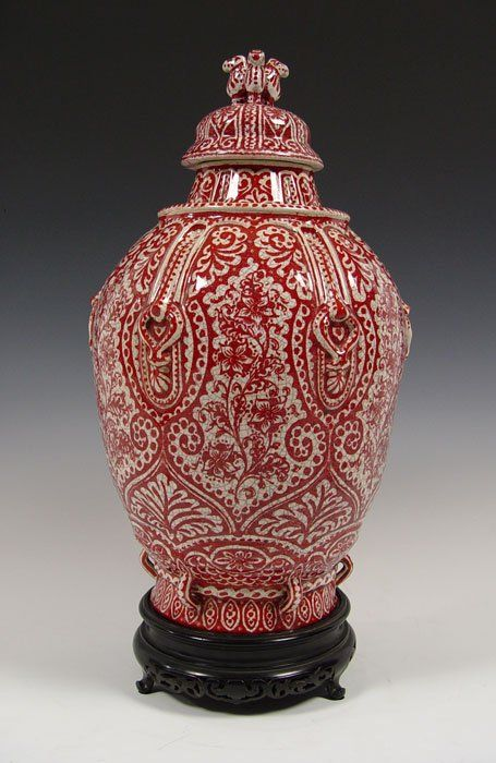 LARGE DE PORCELEYNE FLES DELFT ROOD CRAQUELE JAR: Decorated by Cornelius Hartog in the red painted all over crackle pottery Rood Craquele. This technique was executed 1947-67. Hartog was a painter for the pottery from 1920 until his death in 1965. 24'' tall.
