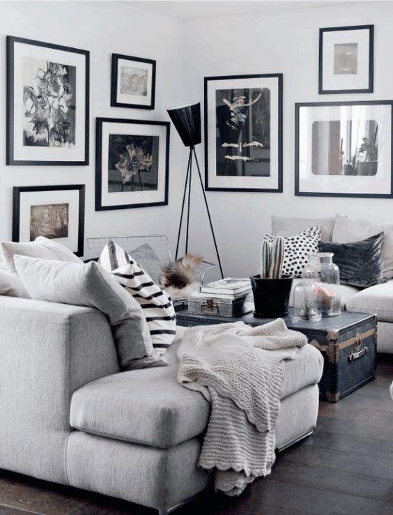 Zona de sof s en blanco gris y negro inspiraciones for Sofa gris y blanco
