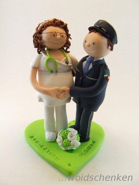 Tortenfigur Brautpaar Polizist und Krankenschwester