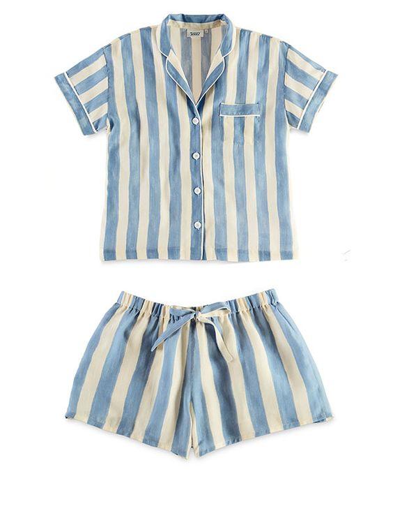 Sleepy Jones Marina Short Sleeve Pajama Shirt and Paloma Pajama Short