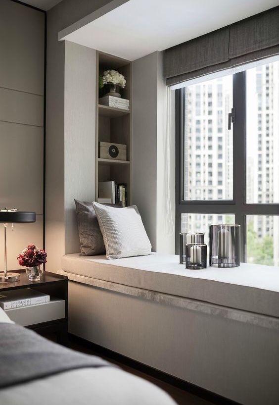 Nice Bedroom Design Bay Windows Windows Treatments Curtains