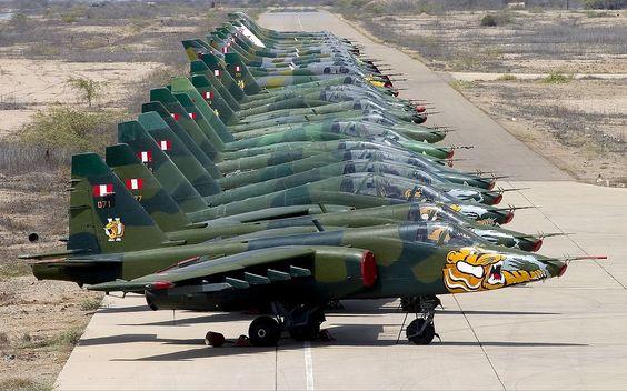 Peruvian Air Force Sukhoi Su-25 lineup Lofting