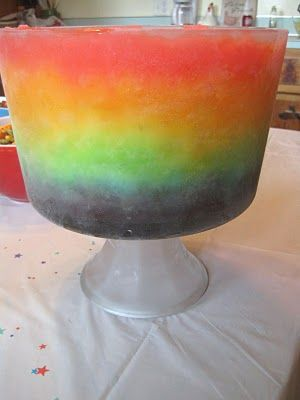 Rainbow Slush in a trifle bowl.....ideal for birthday partys, summertime, or for no reason at all!!!!!