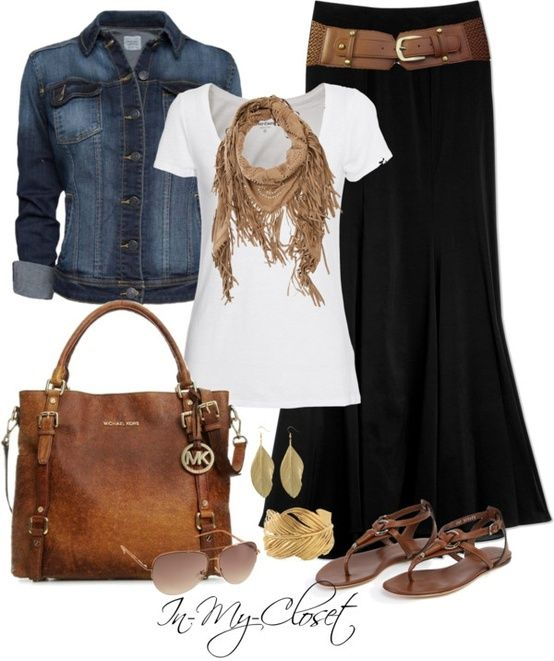 Black maxi skirt, jean jacket & white T-shirt with gold and brown leather accents of sandals, purse, belt & scarf