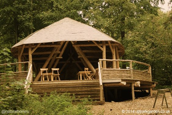 This roundwood woodland classroom is made from western red cedar, sweet chestnut, hazel, limestone, clay and stone. Most of the materials came from within 200 yards of the building. More at www.naturalhomes.org/woodland-classroom.htm