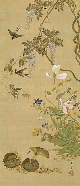 Suzuki Kiitsu,  Birds and Flowers,  1855 Japan | via tumblr  My mother has Japanese canvas paintings similar to this. Reminds me of home.. Maybe I should invest in some and pick a room to decorate around. Everyone likes to reminisce.