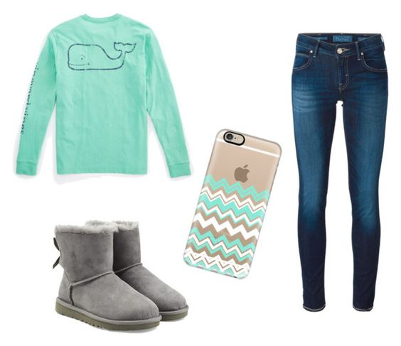 """""""Untitled #30"""" by ashtian22 ❤ liked on Polyvore featuring Vineyard Vines, UGG Australia, Casetify, Jacob Cohёn, women's clothing, women, female, woman, misses and juniors"""