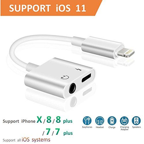 Lightning To 3 5mm Aux Headphone Jack Audio Adapter For Iphone 7 8 X 7 Plus 8 Plus Support Ios 10 3 Ios 11 Cone 2 In 1 Light Iphone 7 Adapter Iphone 7 Iphone
