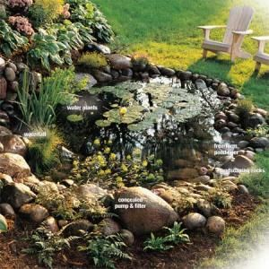 How to build a water garden with waterfall put a little for Make your own pond liner