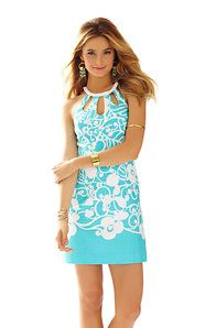 Pearl Cut-Out Halter Shift Dress
