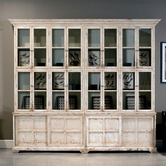 Bookcase cabinet glass doors antique white french country for Large glass french doors