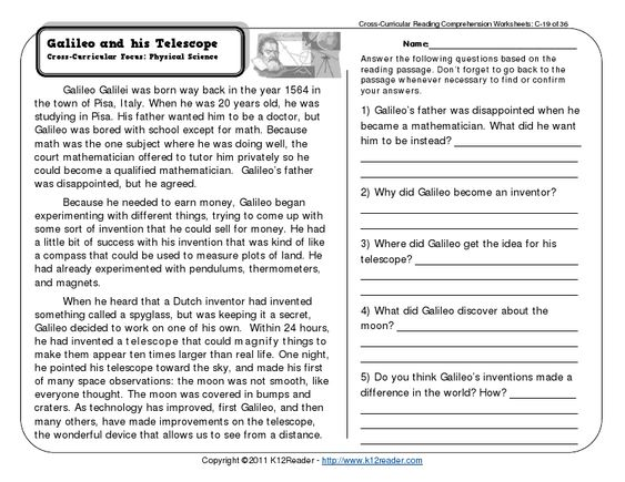 Printables Third Grade Comprehension Worksheets comprehension reading and worksheets third grade galileo
