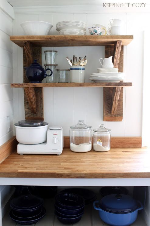 rustic upper shelf in a kitchen keeping it cozy kitchen. Black Bedroom Furniture Sets. Home Design Ideas